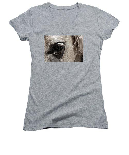 Stillness In The Eye Of A Horse Women's V-Neck T-Shirt (Junior Cut) by Marilyn Hunt