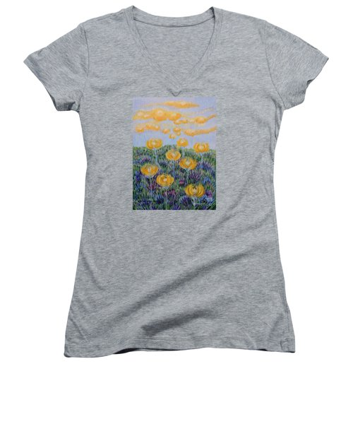 Women's V-Neck T-Shirt (Junior Cut) featuring the painting Seeing Through by Holly Carmichael