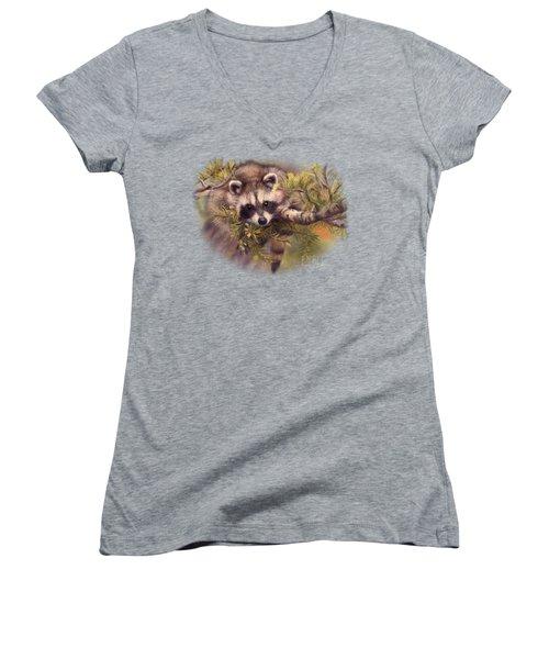 Seeking Mischief Women's V-Neck T-Shirt (Junior Cut) by Lucie Bilodeau