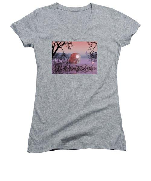 Seeking The Dying Light Of Wisdom Women's V-Neck T-Shirt (Junior Cut) by John Alexander