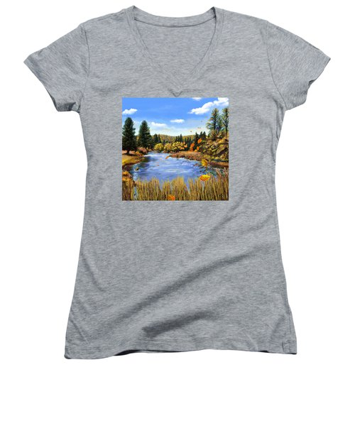 Seeley Montana Fall Women's V-Neck T-Shirt (Junior Cut) by Susan Kinney