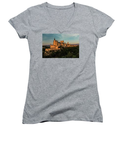 Segovia Alcazar And Cathedral Golden Hour Women's V-Neck (Athletic Fit)