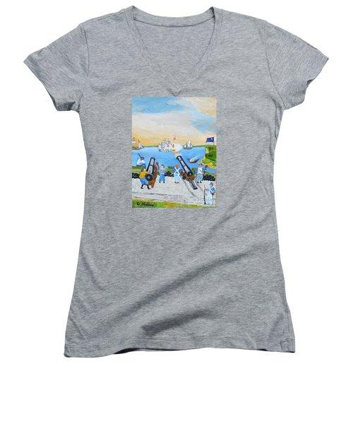 Seige Of Charleston, Sc Women's V-Neck T-Shirt (Junior Cut) by Bill Hubbard
