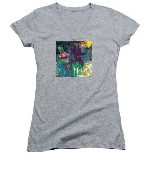 Seize The Day 48x48 Print Abstract Painting Modern Art Original Women's V-Neck (Athletic Fit)