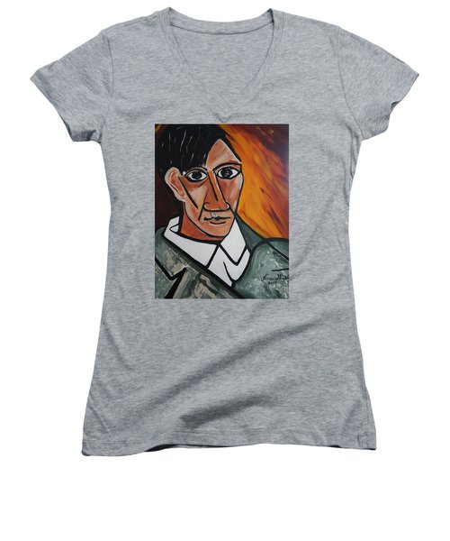 Self Portrait Of Picasso Women's V-Neck T-Shirt (Junior Cut) by Nora Shepley