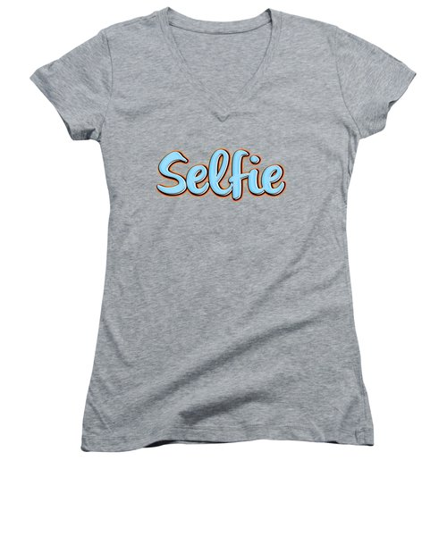 Selfie Tee Women's V-Neck T-Shirt (Junior Cut) by Edward Fielding