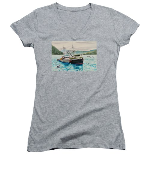 Selling Fish To Peter Pan Women's V-Neck T-Shirt