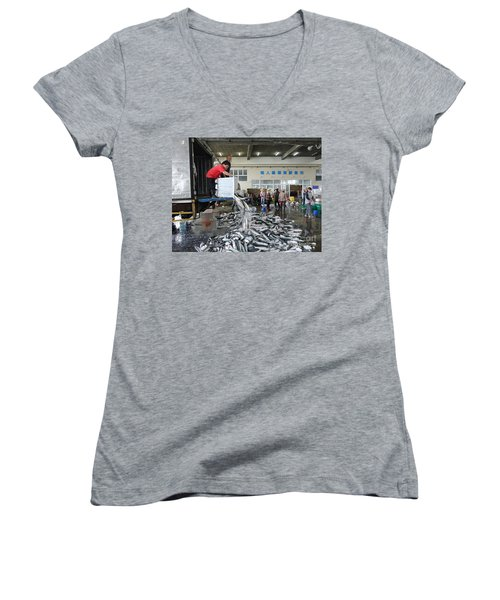 Women's V-Neck T-Shirt (Junior Cut) featuring the photograph Selling Grey Mullet Fish In Taiwan by Yali Shi