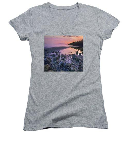 Semiahmoo Bay Women's V-Neck T-Shirt (Junior Cut) by Tim Fitzharris