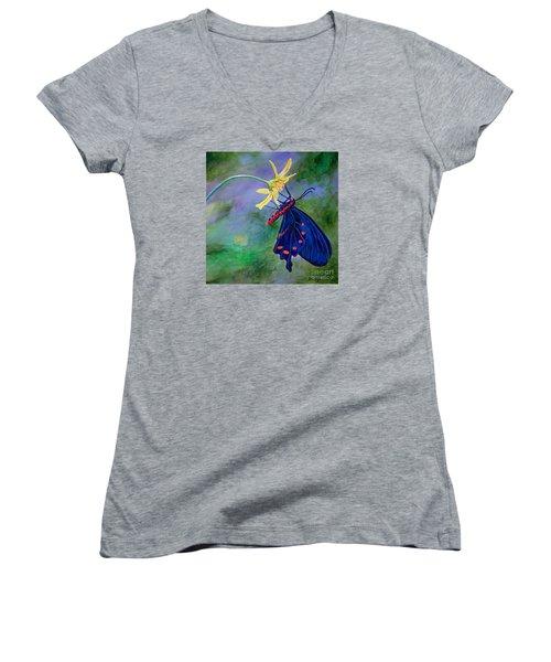 Semperi Swallowtail Butterfly Women's V-Neck T-Shirt (Junior Cut) by AnnaJo Vahle