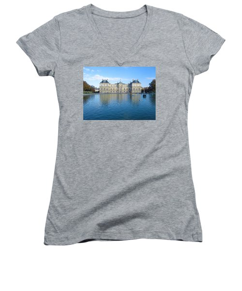 Women's V-Neck T-Shirt (Junior Cut) featuring the photograph Senat From Jardin Du Luxembourg by Christopher Kirby