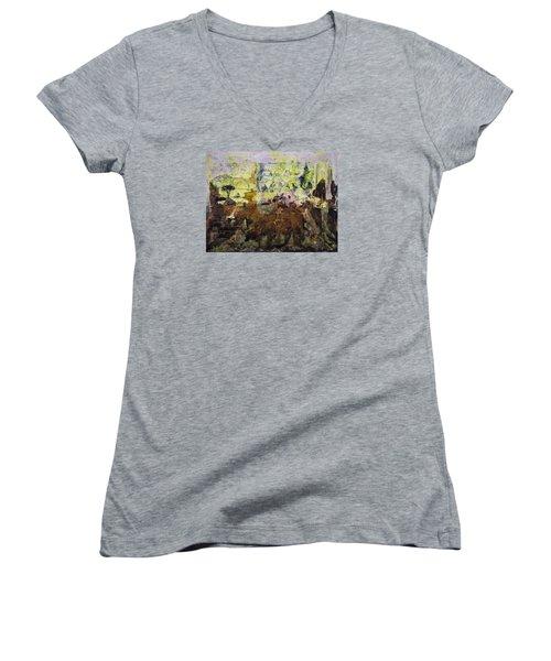 Women's V-Neck T-Shirt (Junior Cut) featuring the painting Senegambia by Ron Richard Baviello