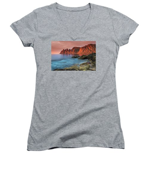 Senja Red Women's V-Neck T-Shirt (Junior Cut) by Alex Conu