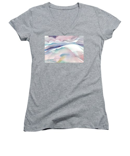 Women's V-Neck featuring the painting Sensuous Landscape by Carolyn Utigard Thomas