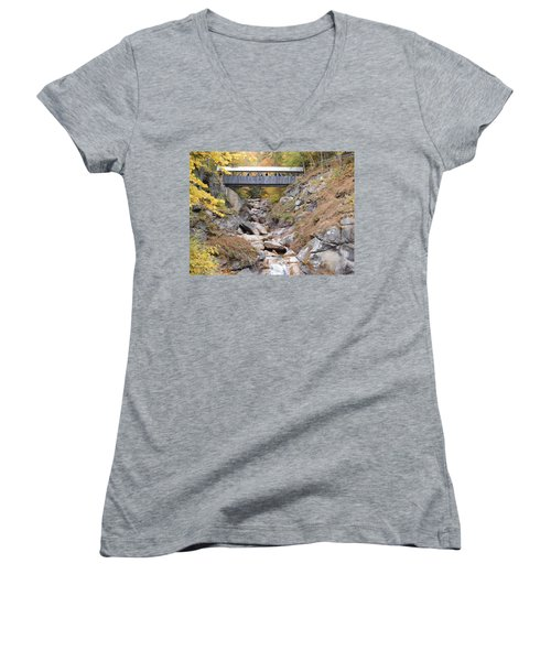 Sentinel Pine Covered Bridge Women's V-Neck T-Shirt (Junior Cut) by Catherine Gagne