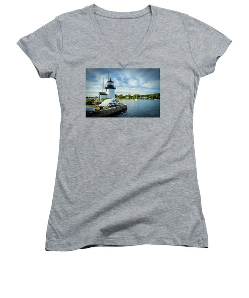 Sentinels Of The Sea Lighthouse Women's V-Neck (Athletic Fit)