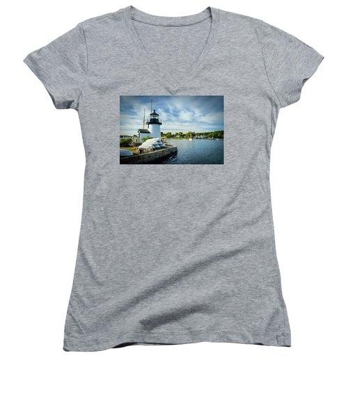 Sentinels Of The Sea Lighthouse Women's V-Neck T-Shirt (Junior Cut)