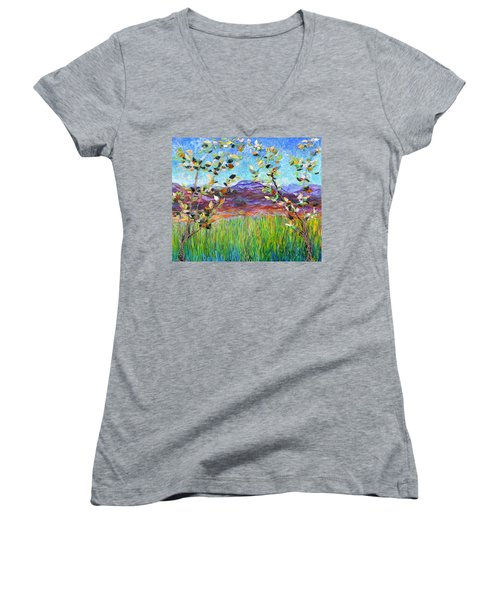 Sentries Diptych Women's V-Neck T-Shirt (Junior Cut) by Regina Valluzzi