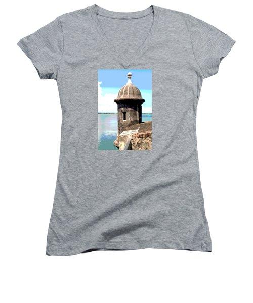 Sentry Box In El Morro Women's V-Neck T-Shirt (Junior Cut) by The Art of Alice Terrill