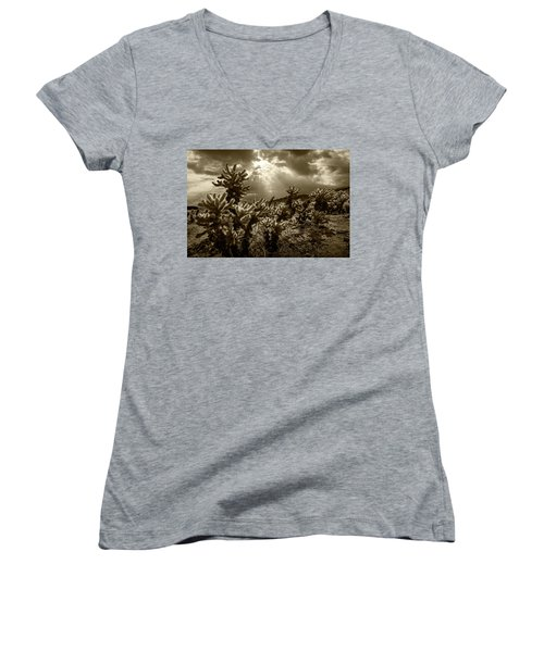Women's V-Neck T-Shirt (Junior Cut) featuring the photograph Sepia Tone Of Cholla Cactus Garden Bathed In Sunlight by Randall Nyhof