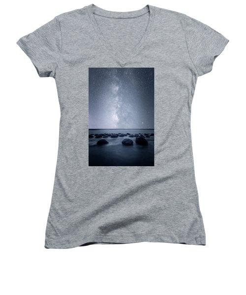 Women's V-Neck T-Shirt (Junior Cut) featuring the photograph Septarian Concretions by Dustin LeFevre