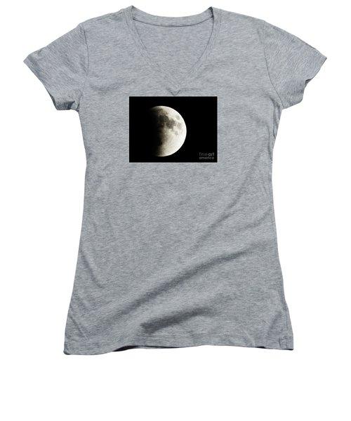 Women's V-Neck T-Shirt (Junior Cut) featuring the photograph September 27,2015 Moon Eclipse  by J L Zarek