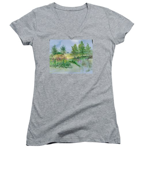 September At Kickapoo Creek Park Women's V-Neck T-Shirt