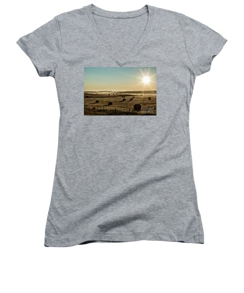 Women's V-Neck T-Shirt (Junior Cut) featuring the photograph September Hay by Brad Allen Fine Art