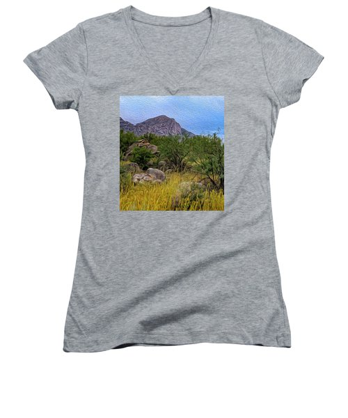 Women's V-Neck T-Shirt featuring the photograph September Oasis No.2 by Mark Myhaver
