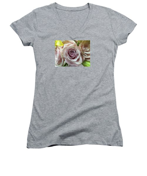 September Rose Women's V-Neck T-Shirt (Junior Cut) by Russell Keating