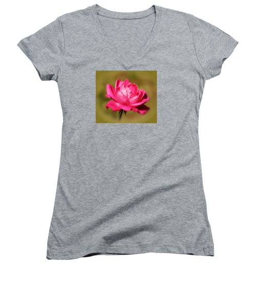 September Rose Up Close Women's V-Neck T-Shirt