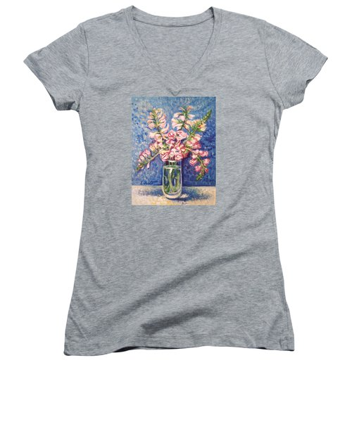 Women's V-Neck T-Shirt (Junior Cut) featuring the painting September Snaps by Laura Aceto