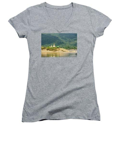 Women's V-Neck T-Shirt (Junior Cut) featuring the photograph September by Werner Padarin