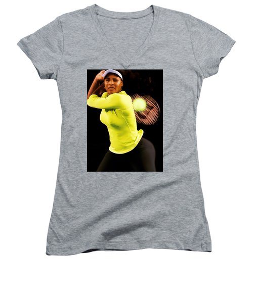 Serena Williams Bamm Women's V-Neck T-Shirt (Junior Cut) by Brian Reaves