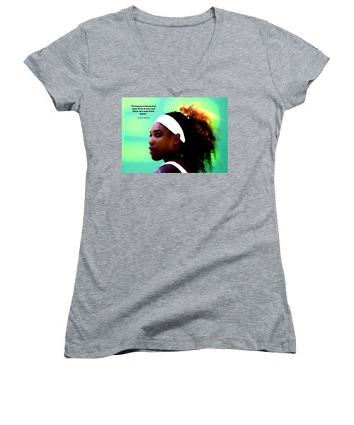 Serena Williams Motivational Quote 1a Women's V-Neck T-Shirt (Junior Cut) by Brian Reaves