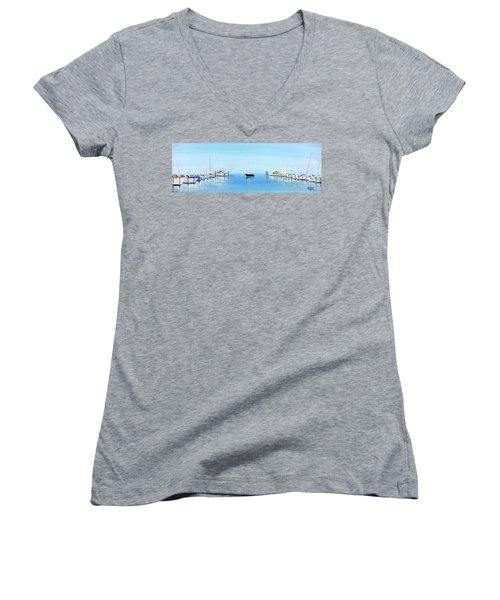 Serene Atlantic Highlands Marina Women's V-Neck T-Shirt
