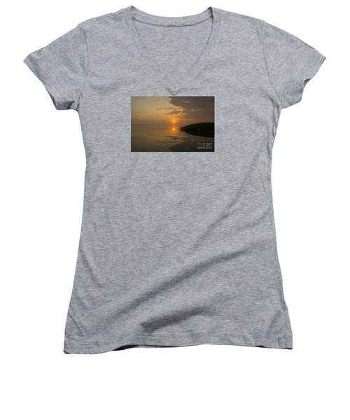 Women's V-Neck T-Shirt (Junior Cut) featuring the photograph Serene Evening by Inge Riis McDonald