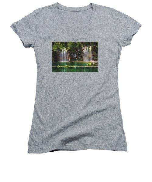 Serene Hanging Lake Waterfalls Women's V-Neck