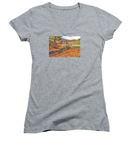 Women's V-Neck T-Shirt (Junior Cut) featuring the photograph Serene Lake by Gordon Elwell