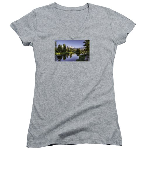 Serene Schwabachers Women's V-Neck T-Shirt (Junior Cut) by Mary Angelini