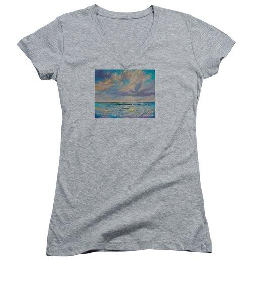 Serene Sea Women's V-Neck T-Shirt (Junior Cut) by AnnaJo Vahle