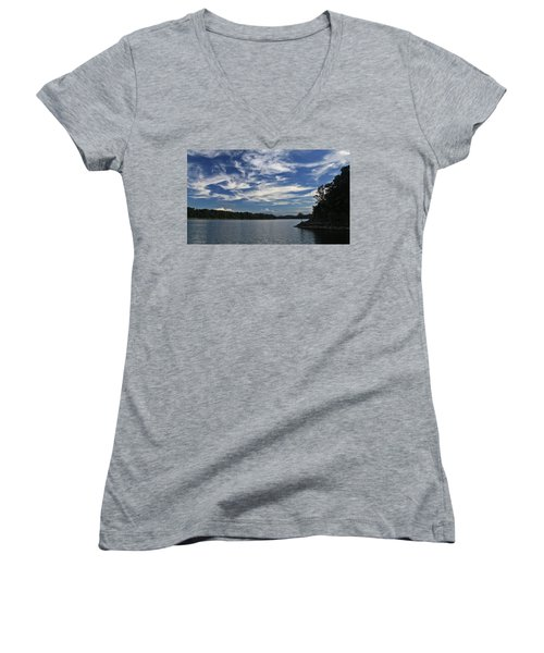 Serene Skies Women's V-Neck T-Shirt (Junior Cut) by Gary Kaylor
