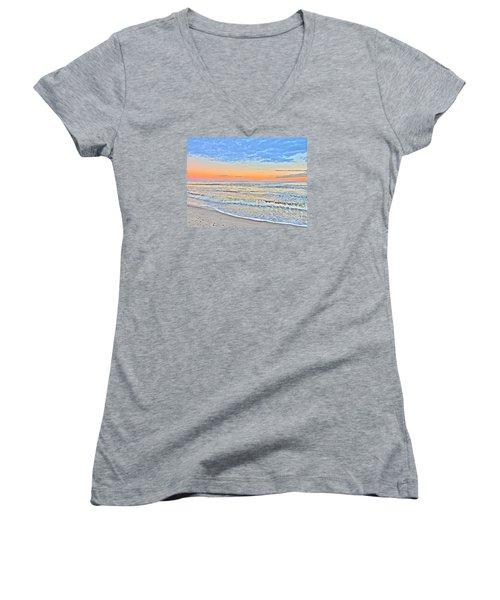 Serene Sunset Women's V-Neck T-Shirt (Junior Cut) by Shelia Kempf