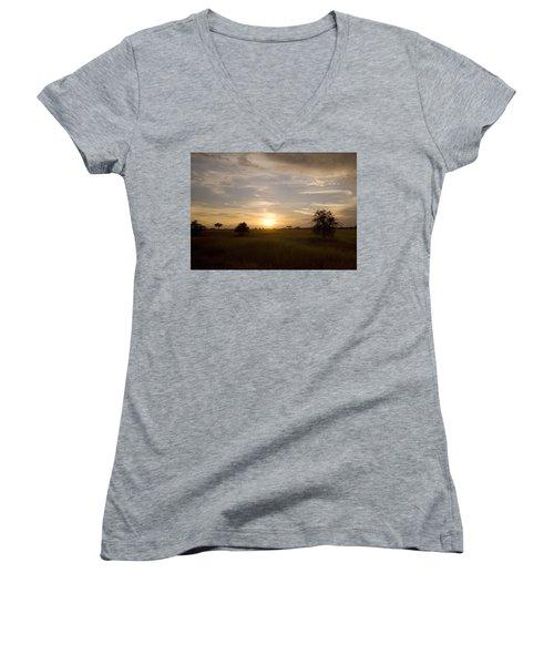 Serengeti Sunset Women's V-Neck T-Shirt