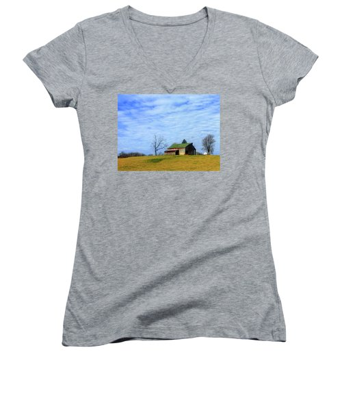 Serenity Barn And Blue Skies Women's V-Neck T-Shirt (Junior Cut) by Tina M Wenger