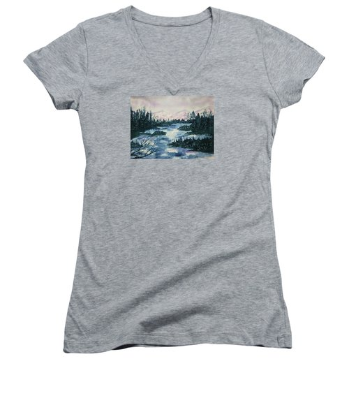 Women's V-Neck T-Shirt (Junior Cut) featuring the painting Serenity IIi by Ellen Levinson