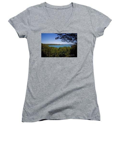 Women's V-Neck T-Shirt (Junior Cut) featuring the photograph Serenity by Joann Copeland-Paul