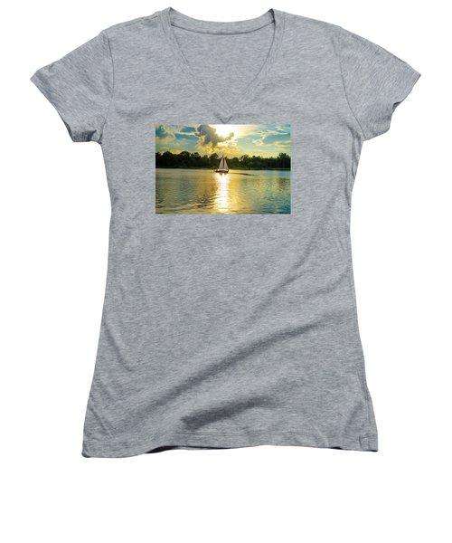 Serenity  Women's V-Neck T-Shirt (Junior Cut) by Mary Ward