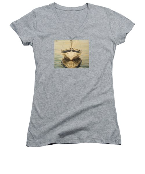 Women's V-Neck T-Shirt (Junior Cut) featuring the painting Serenity by Natalia Tejera