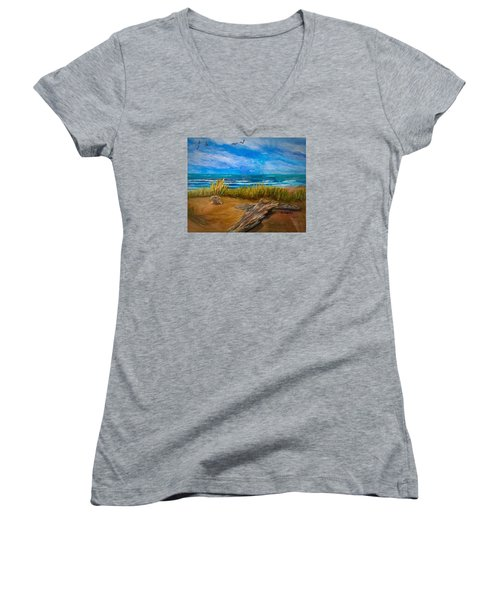 Serenity On A Florida Beach Women's V-Neck